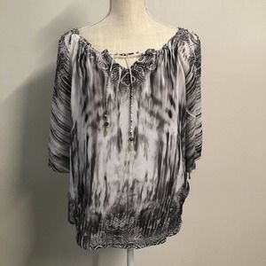One World Tie-Sleeve Blouse Tie Die Women's Size SMALL Lined Flowy Top